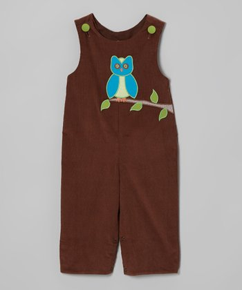 Brown Winter Owl Corduroy Playsuit - Infant & Toddler