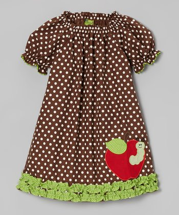 Brown Polka Dot Apple Puff-Sleeve Dress - Infant, Toddler & Girls