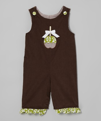 Brown Candy Apple Ruffle Corduroy Playsuit - Infant & Toddler