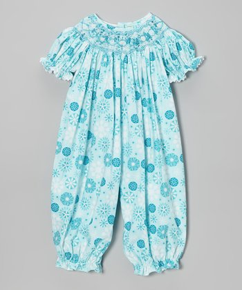 Blue Snowflake Smocked Bubble Playsuit - Infant & Toddler