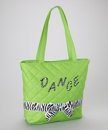 Green 'Dance' Zebra Bow Tote