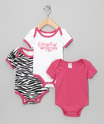 Pink & White Zebra Bodysuit Set
