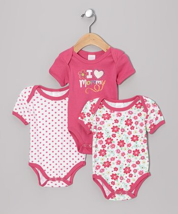 Pink 'I Heart Mommy' Bodysuit Set