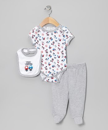 Gray 'Tiny Trucks' Footie Pants Set