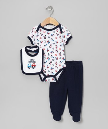 Navy 'Tiny Trucks' Footie Pants Set