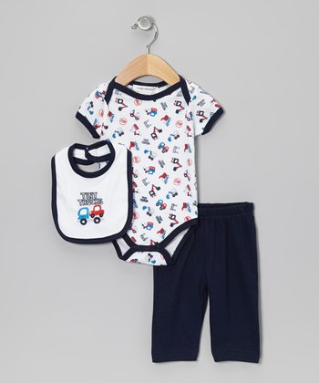 Navy 'Tiny Trucks' Pants Set
