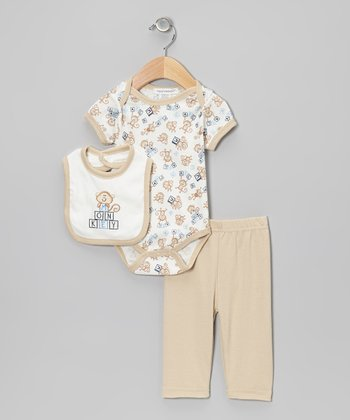 Beige 'Monkey' Pants Set