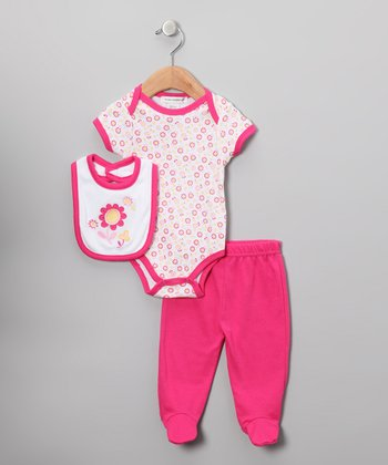 Dark Pink Flower Footie Pants Set