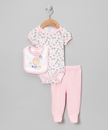 Light Pink Flower Footie Pants Set