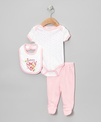 Light Pink 'Sweet' Heart Footie Pants Set