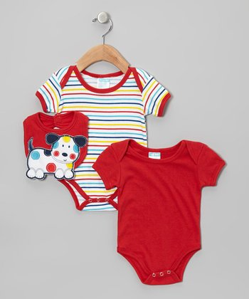 Red Stripe Puppy Bodysuit Set