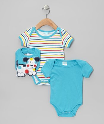 Turquoise Stripe Puppy Bodysuit Set