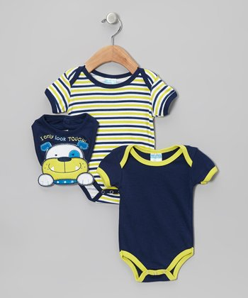 Navy Stripe Puppy Bodysuit Set