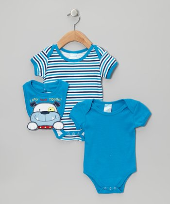 Royal Stripe Puppy Bodysuit Set