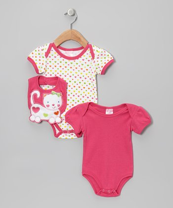 Dark Pink Cat Heart Bodysuit Set