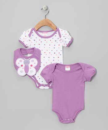 Lilac Butterfly Heart Bodysuit Set