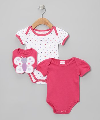 Dark Pink Butterfly Heart Bodysuit Set