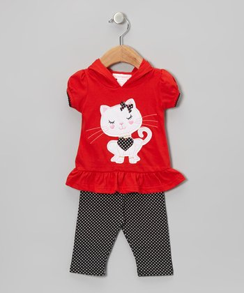 Red Cat Hoodie & Polka Dot Leggings