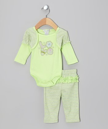 Lime 'Love' Layered Bodysuit & Pants