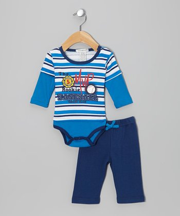 Blue 'Baseball' Layered Bodysuit & Pants