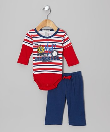 Red 'Baseball' Layered Bodysuit & Pants