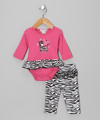 Pink Zebra Skirted Bodysuit & Pants