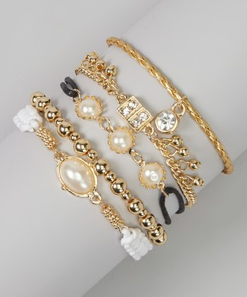 Gold & White Pearl Braided Bracelet Set