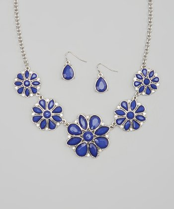 Silver & Blue Stone Flower Bib Necklace & Earrings
