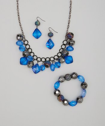 Blue & Black Crystal Cluster Necklace Set