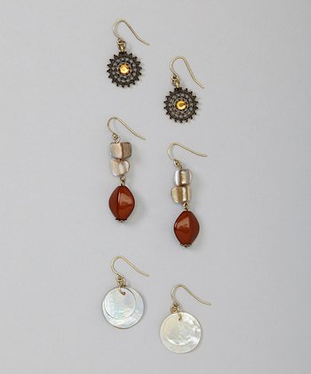 Brown Drop Earrings Set