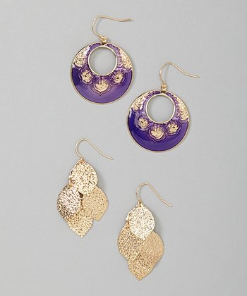 Purple & Gold Earrings Set