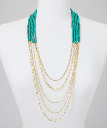 Gold & Turquoise Bead Necklace