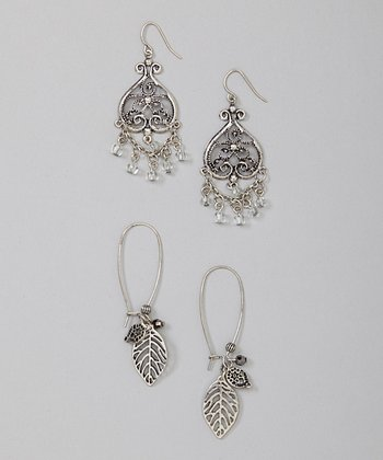Silver Leaf Filigree Earrings Set
