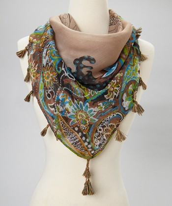 Brown Floral Fringe Scarf