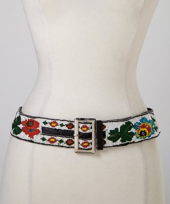 White Rose Beaded Belt