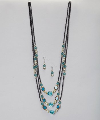 Blue Glass Bead Necklace & Earrings Set