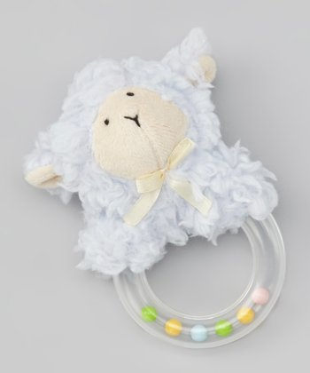 Blue Lamb Plush Rattle Ring