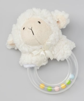 White Lamb Plush Rattle Ring