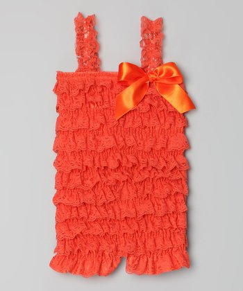 Orange Lace Ruffle Romper - Infant, Toddler & Girls