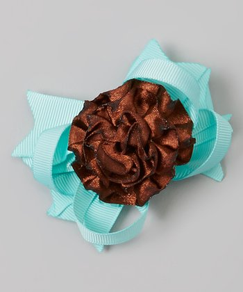 Dark Brown & Turquoise Rose Clip