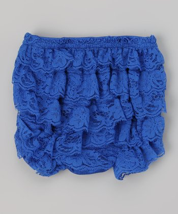 Blue Lace Ruffle Diaper Cover - Infant