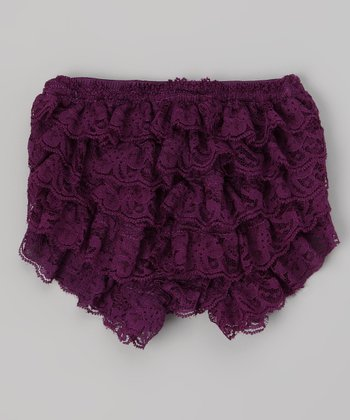 Dark Purple Lace Ruffle Diaper Cover - Infant