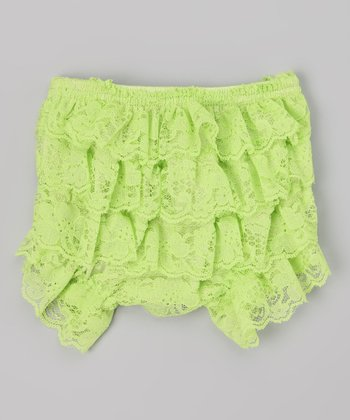 Lime Lace Ruffle Diaper Cover - Infant