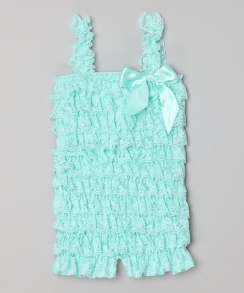 Aqua Lace Ruffle Romper - Infant, Toddler & Girls