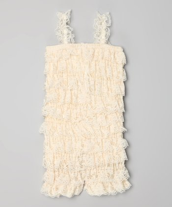 Cream Lace Ruffle Romper - Infant, Toddler & Girls