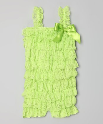 Lime Lace Ruffle Romper - Infant, Toddler & Girls