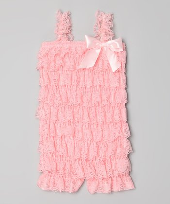 Pink Lace Ruffle Romper - Toddler & Girls