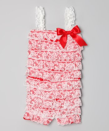 Red & White Lace Ruffle Romper - Infant, Toddler & Girls