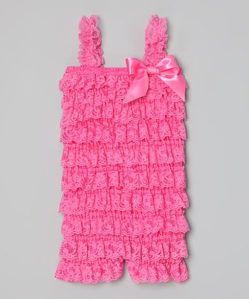 Watermelon Lace Ruffle Romper - Infant, Toddler & Girls