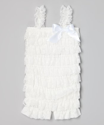 White Lace Ruffle Romper - Infant, Toddler & Girls